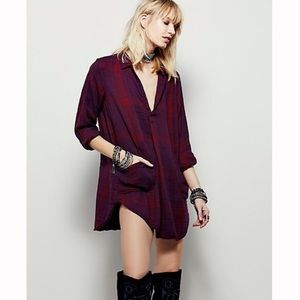 Free People x CP Shades Wine Campfire Plaid Tunic
